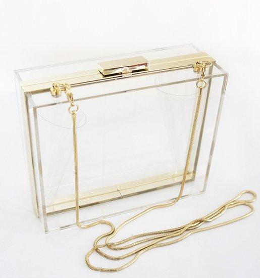 Clear Hard-Case Clutch. Photo Via: Amazon.com