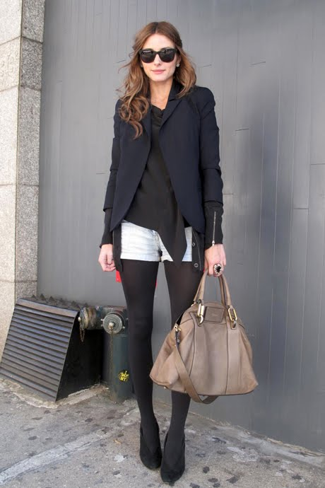 Olivia Palermo Corporate Shorts and Tights Chic